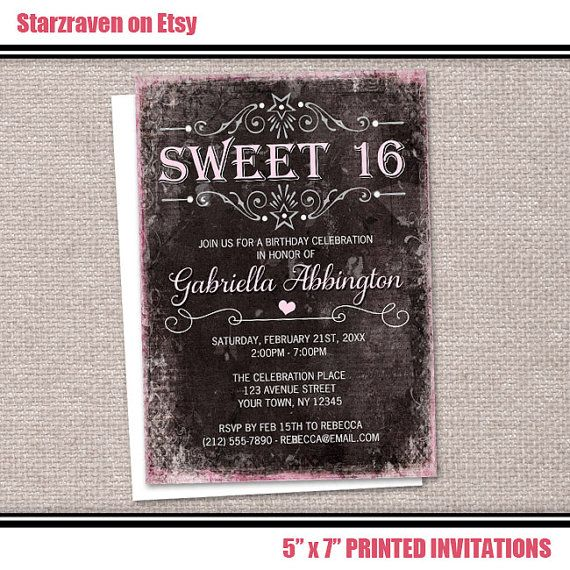 Pink Black Grunge Sweet 16 Invitations, Chic Vintage Typography