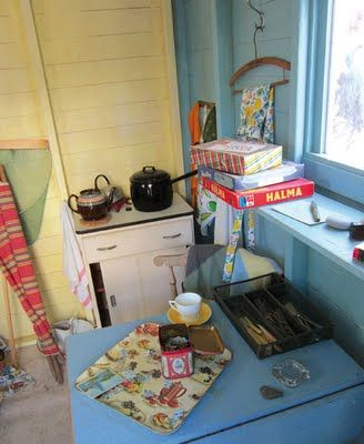 1950's style beach hut interior. I LOVE the idea of having a proper beach hut-style summer house in my garden.
