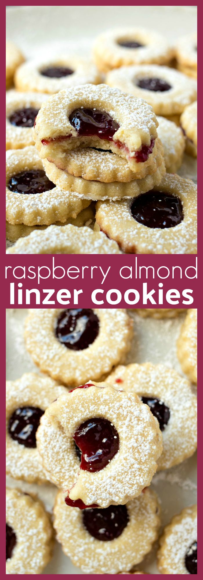 Raspberry Almond Linzer Cookies – Perfectly tart raspberry jam sandwiched between two buttery almond shortbread cookies #cookies #CookieRecipe #christmas #baking #holidayrecipes #valentinesday #raspberry #almond #christmascookies