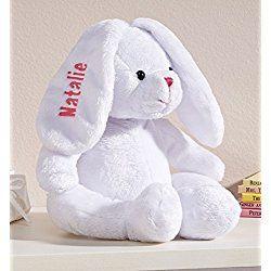 Personalized White Plush Bunny