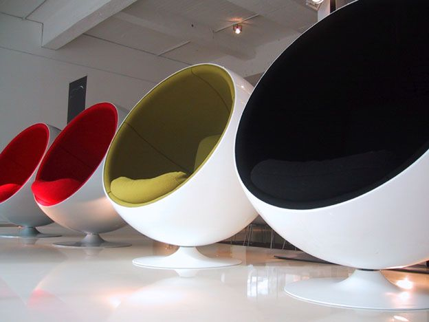 The Ball Chair was created in one of the simplest forms - a ball. The ball being cut in half creates a unique piece of furniture.   Created in 1963