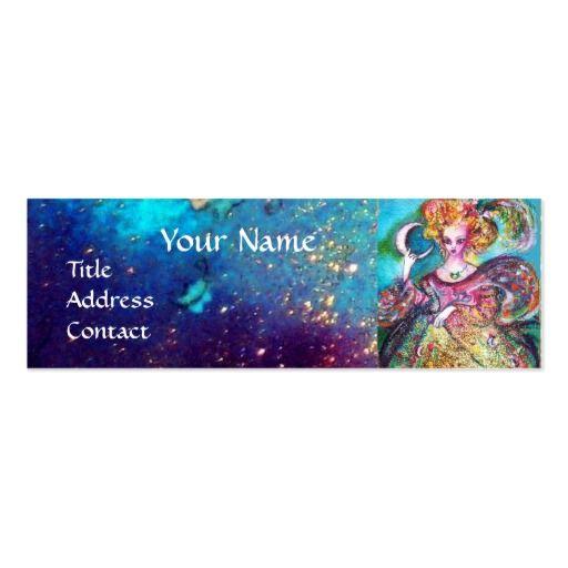 TAROTS OF THE LOST SHADOWS /THE MOON LADY Monogram Mini Business Card #tarot #psychicreader #psychics #fineart #artist #nature