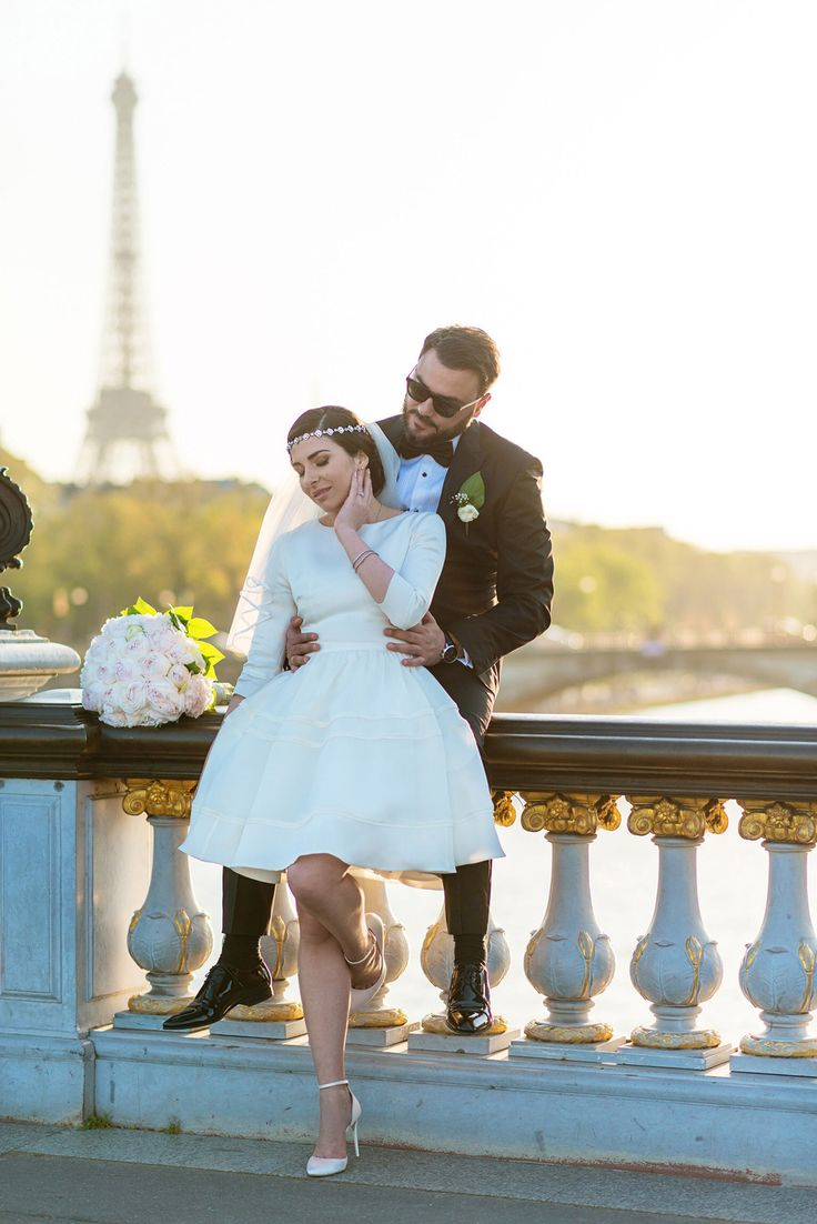 vintage wedding - short wedding dress - My Dream Intimate Wedding In Paris