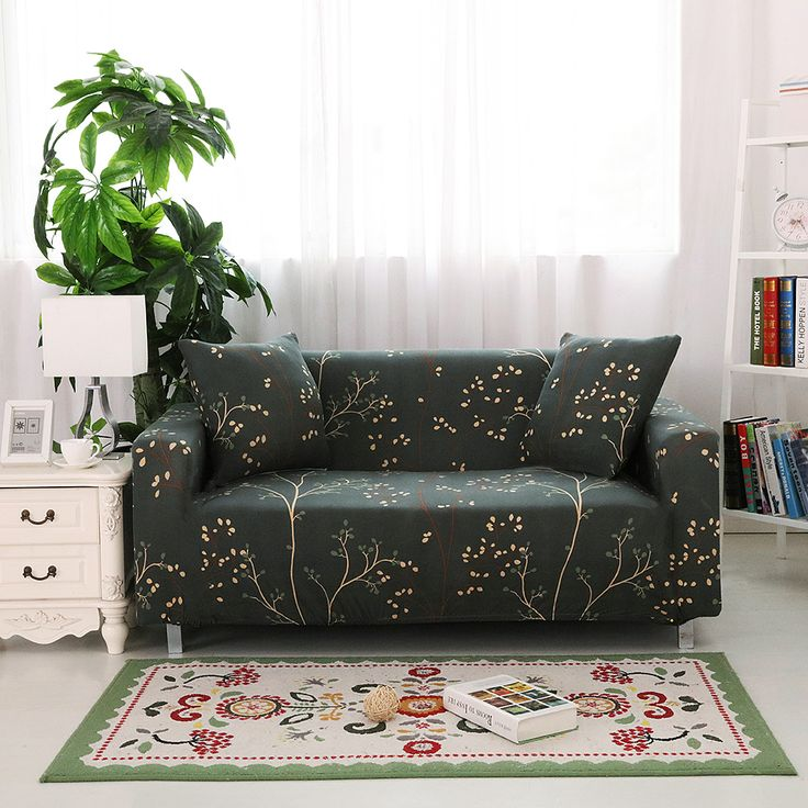 Reactive Plant Print Elastic Sofa Cover Stretch Spandex Sofa Covers  Slipcover Single Double Seat Sofa Covers For Living Room