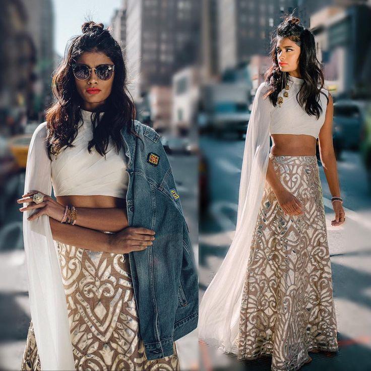 "1,088 Likes, 31 Comments - holiCHIC™ by Megha Rao (@holichicbymegha) on Instagram: ""Bright lights, big city #indianfashion #designerlehenga #indowesternlook #desistyle #sangeet…"""