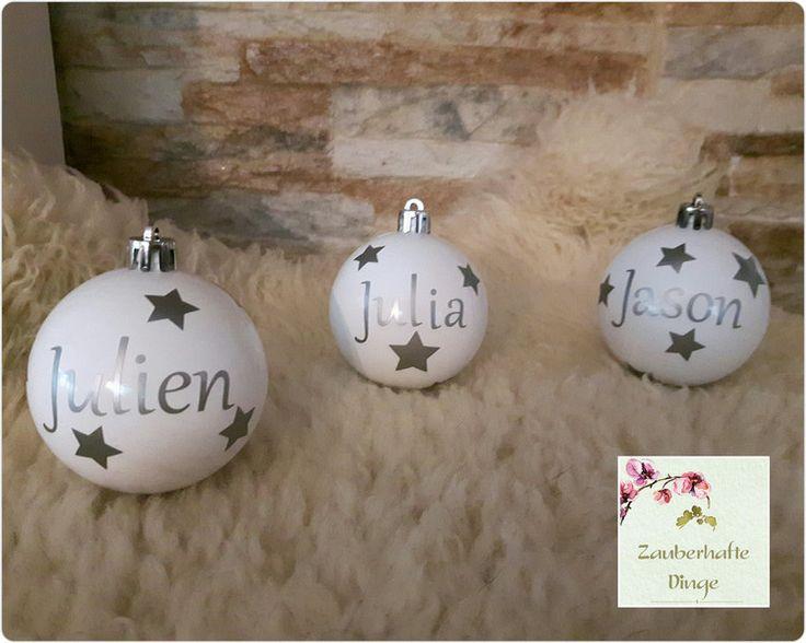 Baumschmuck: Kugeln - ☆Christbaumkugeln Weihnachtskugel mit Name☆  - ein Designerstück von ZauberhafteDinge bei DaWanda