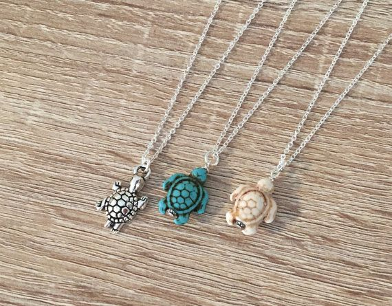 Antique Silver / Turquoise / Ivory Howlite Turtle Necklace