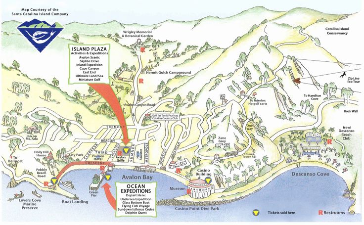 Map of Catalina Island Catalina island, Island map