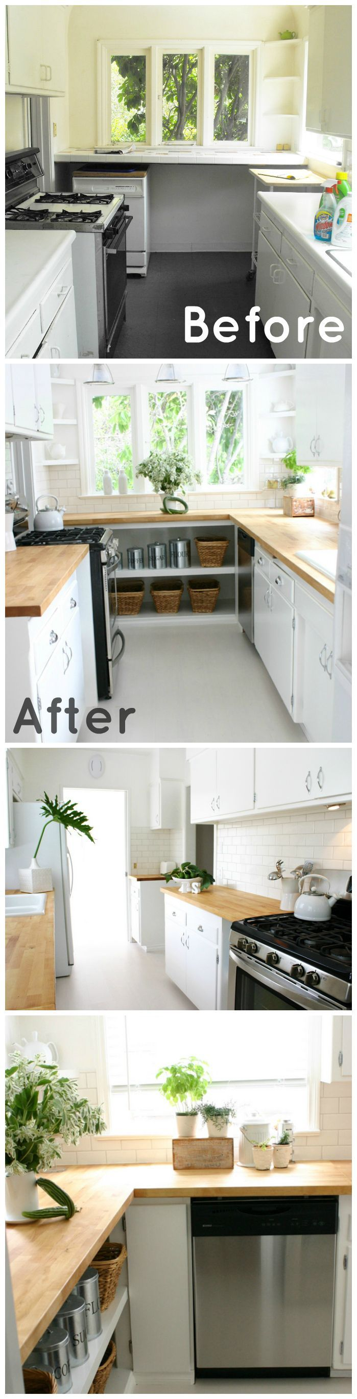 Here is a before and after of a 1920s Kitchen we remodeled!  Out with the old and in with the new. This is a rental home and we had a tight budget but funnily enough it is one of my favorite before and after kitchen projects.  Take a look at all of the photos from this project on my website! http://www.janicemccartydesign.com/portfolio/1920s-kitchen-remodel/  Please share and like!! :)  #1920 #kitchen #remodel #home #improvement #staging #design #decor #style #decorating #ikea #ideas #before