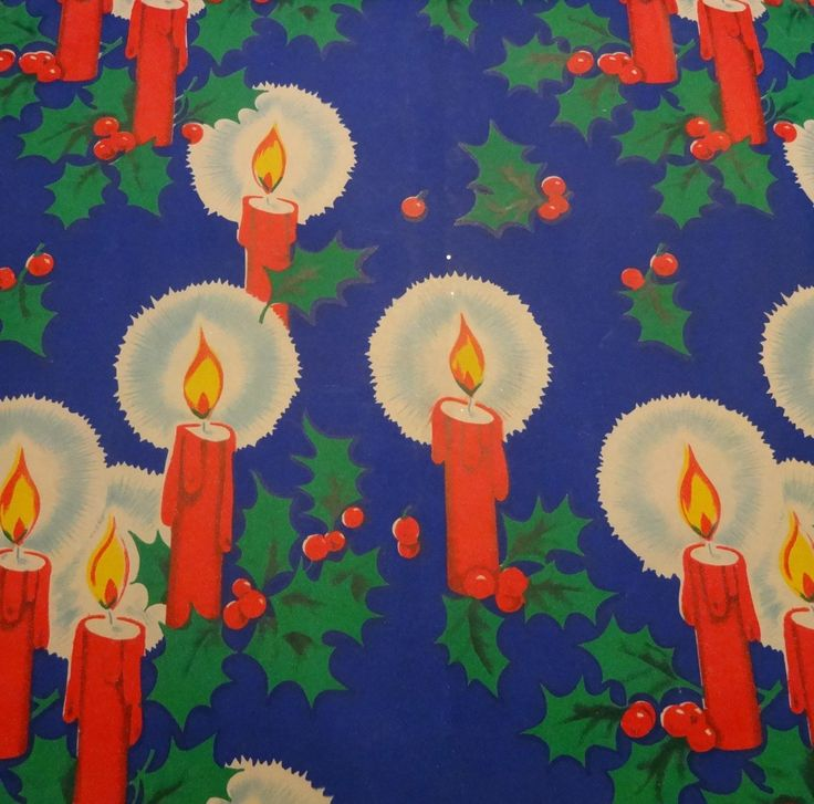 Vintage 1950's Christmas Wrapping Paper, Lighted Candles on Blue, NOS | eBay