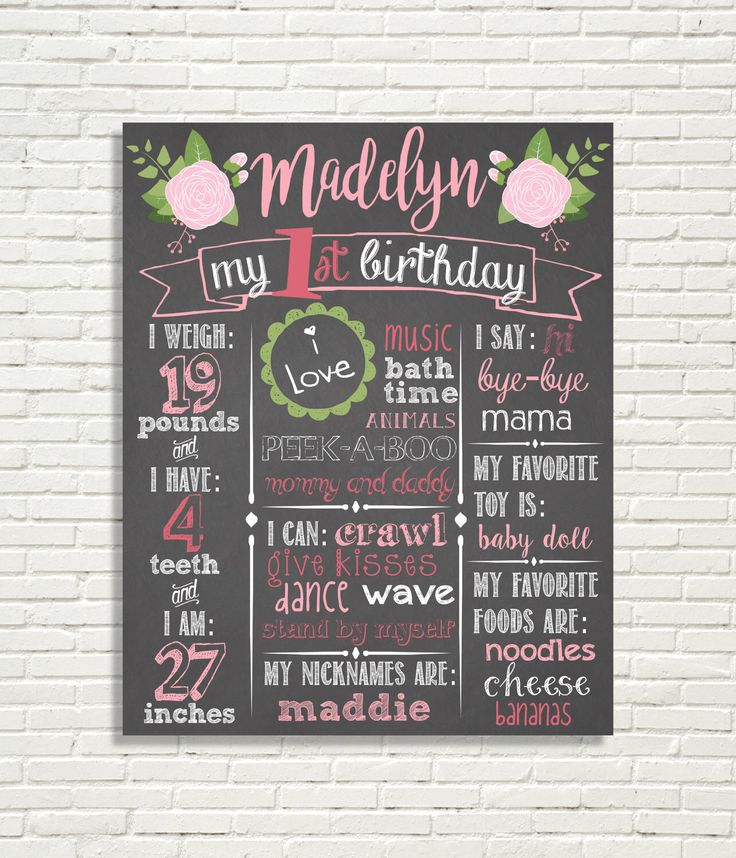 """Girls First Birthday Floral Chalkboard Sign 16x20"""" Poster Light Pink, Hot Pink, 1st Birthday, Roses by BabyBBDesigns on Etsy https://www.etsy.com/listing/503904011/girls-first-birthday-floral-chalkboard"""