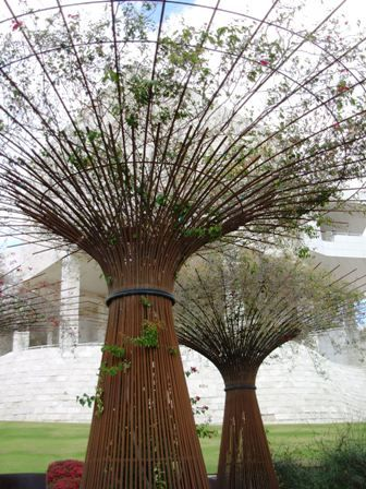 Truly innovative bougainvillea covered rebar sculpture at the getty museum in Los Angeles.