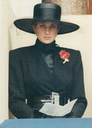 1991:  Princess Diana on Remembrance Day.