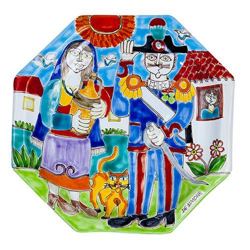 Ceramiche De Simone - Octagonal Plates DS - Piatto Ottagonale DS 25x25 Decoro3