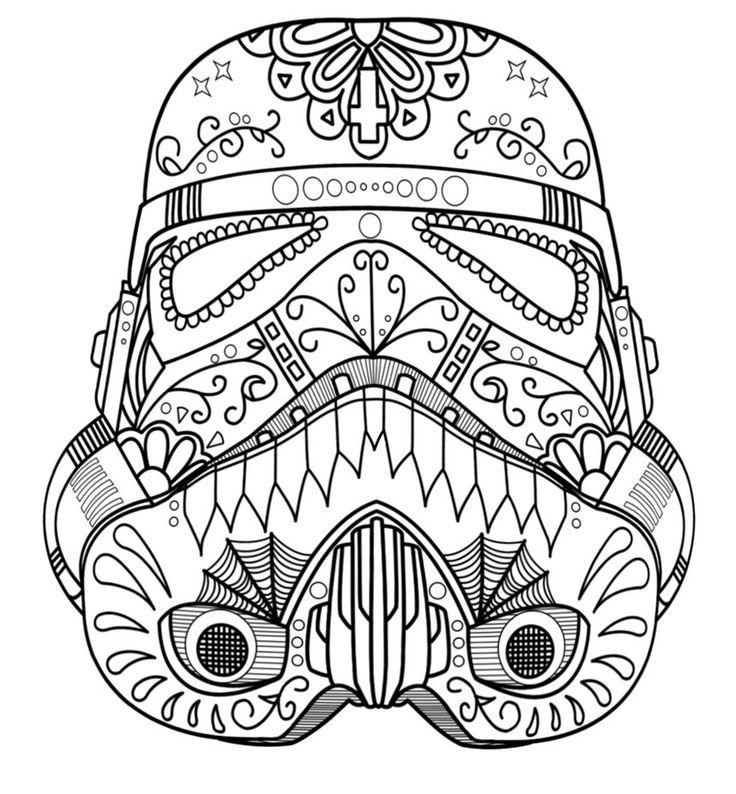 Dark Vader Sugar Skull Coloring Page - AZ Coloring Pages