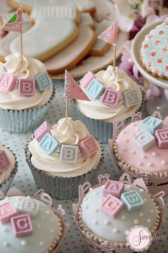 Baby shower cupcakes. Alphabet block cupcakes. https://www.sweetnessonline.co.uk More