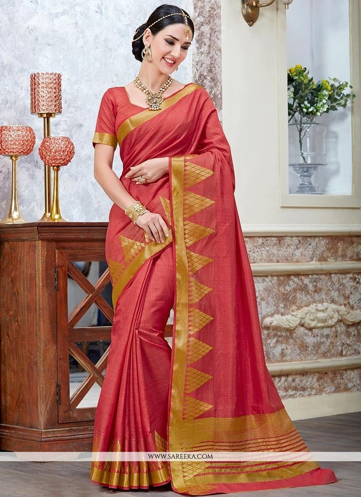 Women elegance is magnified tenfold in this sort of a alluring red tussar silk traditional  saree. The incredible attire creates a dramatic canvas with incredible patch border work. Comes with matchin...