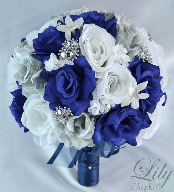 """17 pezzo pacchetto nozze Bouquet sposa fiori di seta bouquet da sposa decorazioni centrotavola blu argento BLSI01 """"Giglio bianco di Angeles"""""""