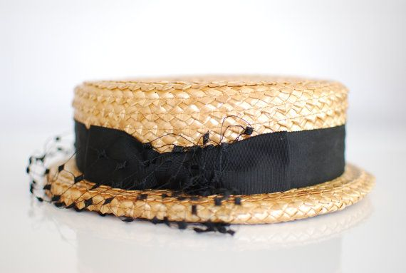 DROOL: short brimmed vintage 1950s straw hat / boater / w/ black gros grain and polka dot veil by YeYe (links to etsy shop)
