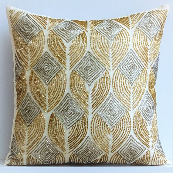 Ivory Decorative Pillow Cover 16x16 Silk Pillows