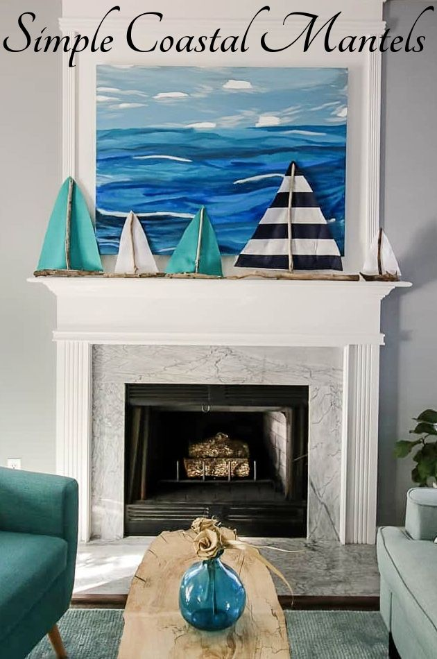 Bright Simple Coastal Fireplace Mantel Decor Ideas Beach Cottage Style Coastal Style Beach House Interior