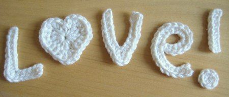 Love!  - free crochet applique pattern! Can be used on cards, gifts, or just put them on your favorite sweater!!!