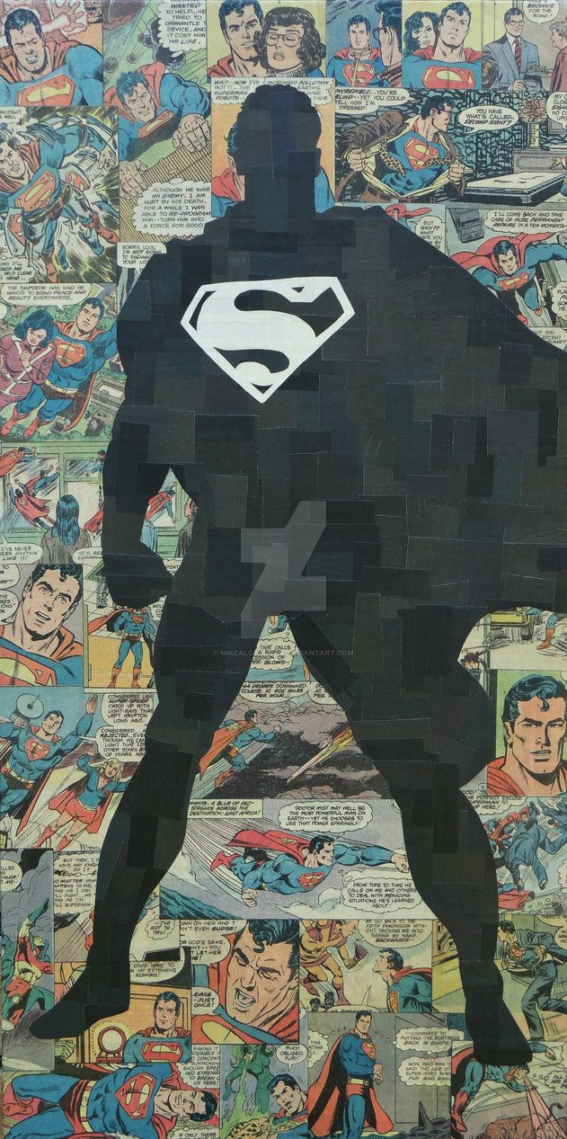 12x24 canvas, collaged image of Superman made with only comic, no ink or paint