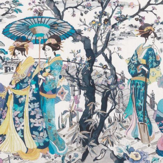 Japanese Garden Fabric A wonderful printed linen fabric featuring a classic Japonais scene of kimono-clad ladies beside an ornamental brook, coloured in a fresh and contemporary manner. Shown in watery blues, purples and yellows on an off-white ground.