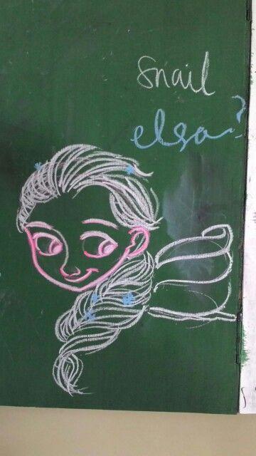 Elsa frozen, snail elsa, chalk, greenboard, drawing, Meg Winchester, school, class.
