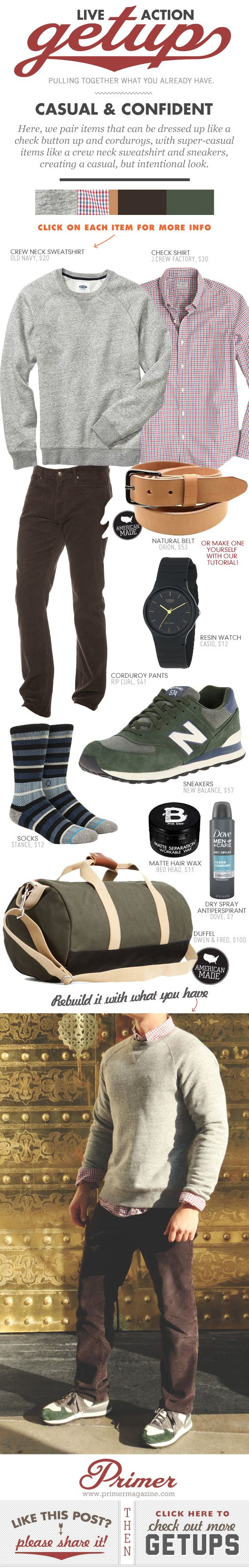 Here, we pair items that can be dressed up like a check button up and corduroys, with super-casual items like a crew neck sweatshirt and sneakers, creating a casual, but intentional look.