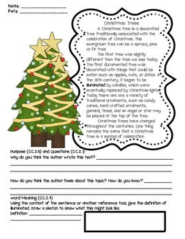 Christmas Activities Reading Comprehension Passages Literacy