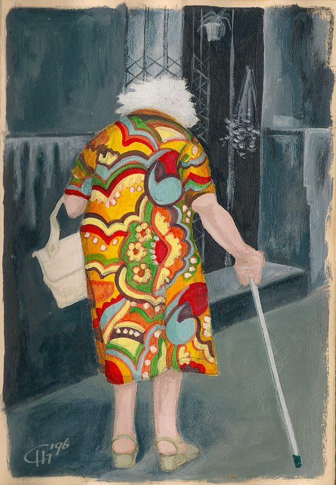 'Sometimes Old People Are Cool'  Illustratie uit Dummy 4  Acryl on paper. Illustration by Hilda Groenesteyn / studioHille