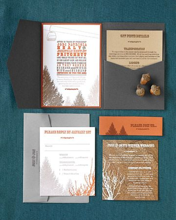 Rustic-Chic Ski Suite    This couple's invitation suite, designed by Olive-Route, combines dark gray and burnt orange for an all-natural ambience.