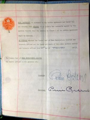 The Beatles/Brian Epstein First Signed Contract--music history on the market--cute detail, both George Harrison and Paul McCartney were under 21 so their dads had to sign too--awww!