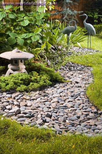 Stock Photo titled: A Backyard Japanese Garden With A Dry Stream Bed, Lantern And Crane Statuary, unlicensed use prohibited