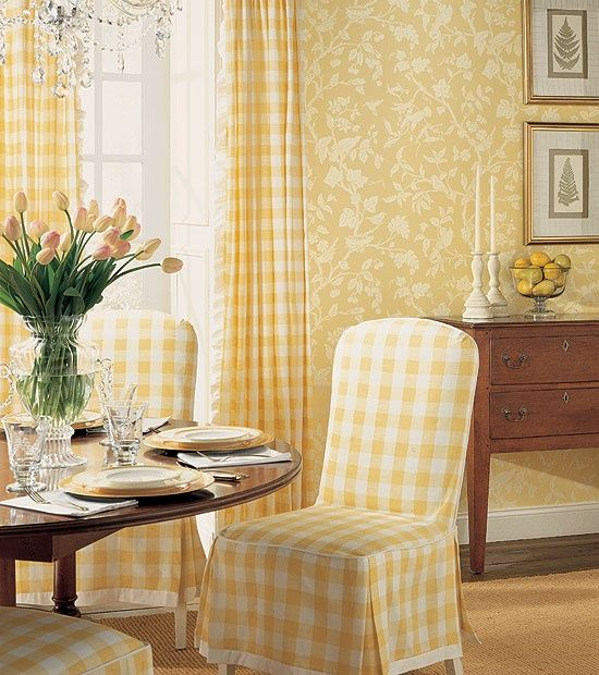 A Sunny Dining Space Wrapped In Yellow Buffalo Check
