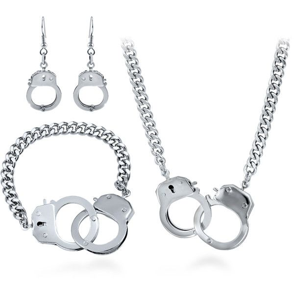 BERRICLE Silver-Tone Handcuffs Fashion Bracelet, Earrings and Necklace... ($69) ❤ liked on Polyvore featuring jewelry, bracelets, earrings and necklace set, sets, women's accessories, handcuff jewelry, metal bangles, handcuff jewelry set, silvertone jewelry and set jewelry