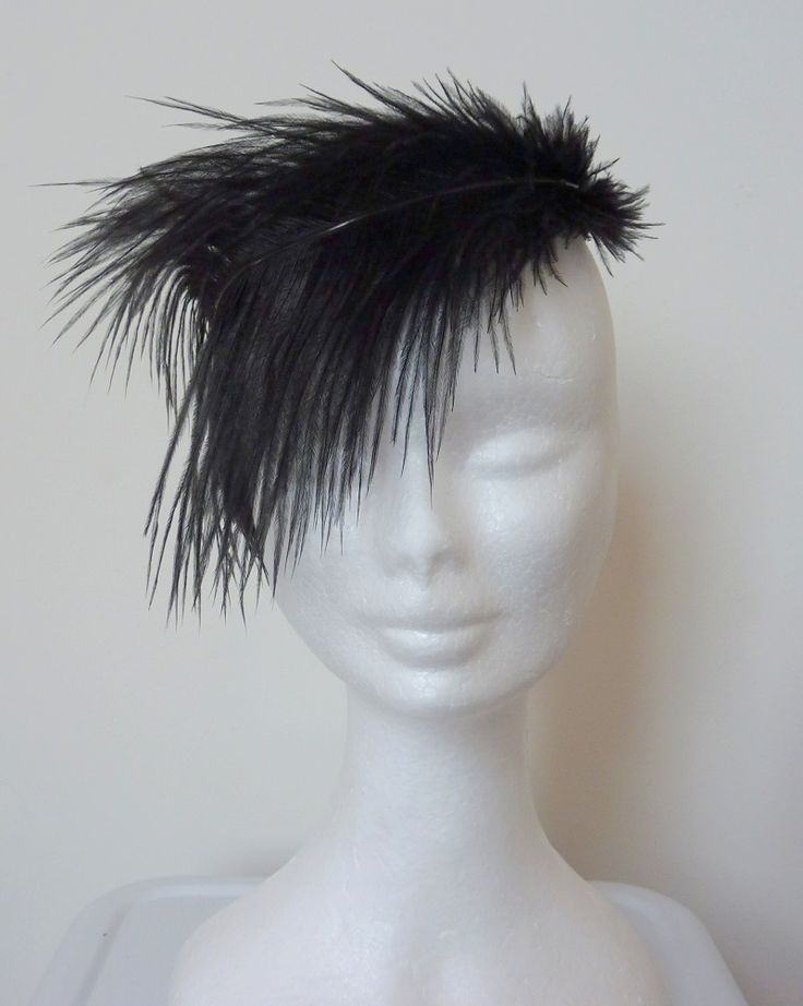 Melbourne Cup/Spring Races Black silk hand-blocked covered base, black feather trim.