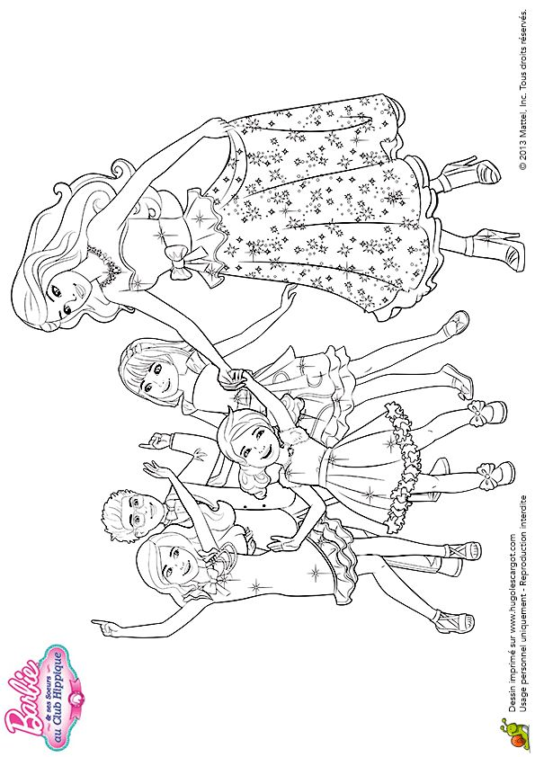 Coloriage barbie et ses soeurs sur Hugolescargot.com - Hugolescargot.com