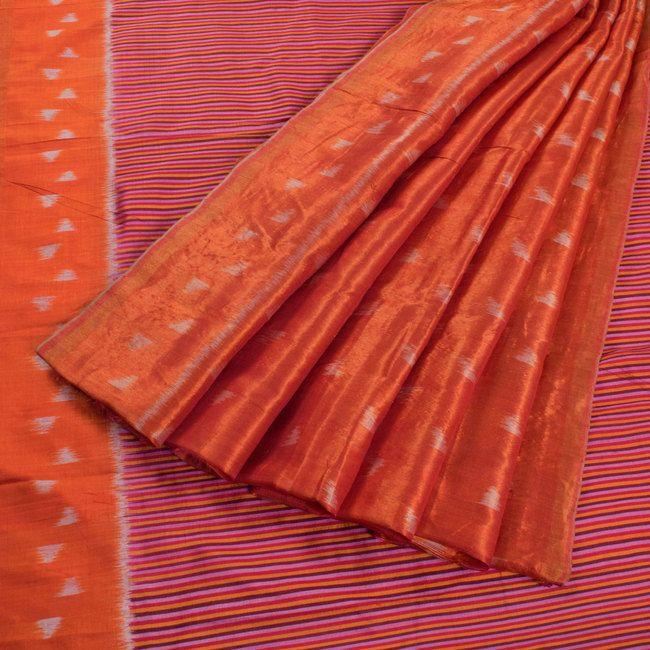 Kala Aur Katha Handwoven Striped Pallavi Ikat Silk Saree with Sorbet Orange Pallu 10002597 - AVISHYA