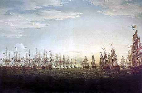 The French Fleet of 13 ships of the line and 4 frigates carried 1,196 guns. The British Fleet of 13 ships of the line and one 50 gun ship carried 1,012 guns.