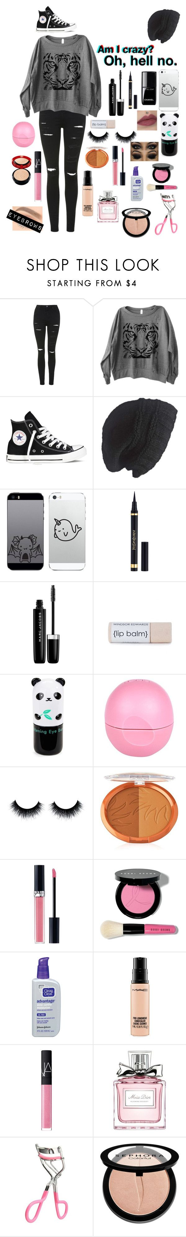 """Random..."" by emo-kyleigh ❤ liked on Polyvore featuring Topshop, Converse, Laundromat, Yves Saint Laurent, Marc Jacobs, Tony Moly, River Island, Christian Dior, Bobbi Brown Cosmetics and MAC Cosmetics"