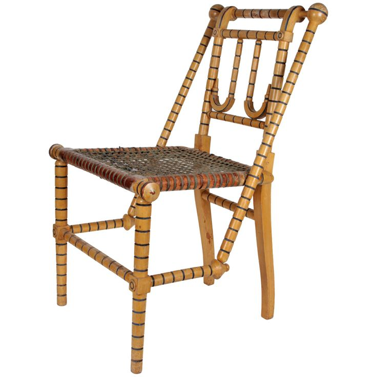 George Jakob Hunzinger Rare Yellow and Blue Painted Chair 1876 | From a unique collection of antique and modern side chairs at http://www.1stdibs.com/furniture/seating/side-chairs/