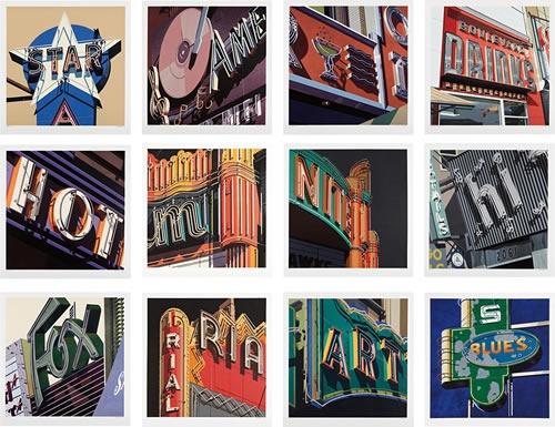 Robert Cottingham(1935-) American Signs - Complete Suite (A set of 12 Screenprints) 2009 www.denisbloch.com
