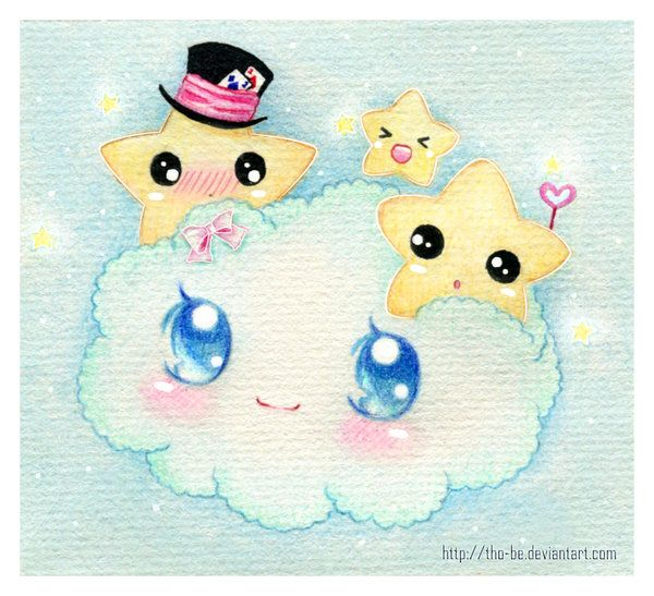 Kawaii cloud and stars
