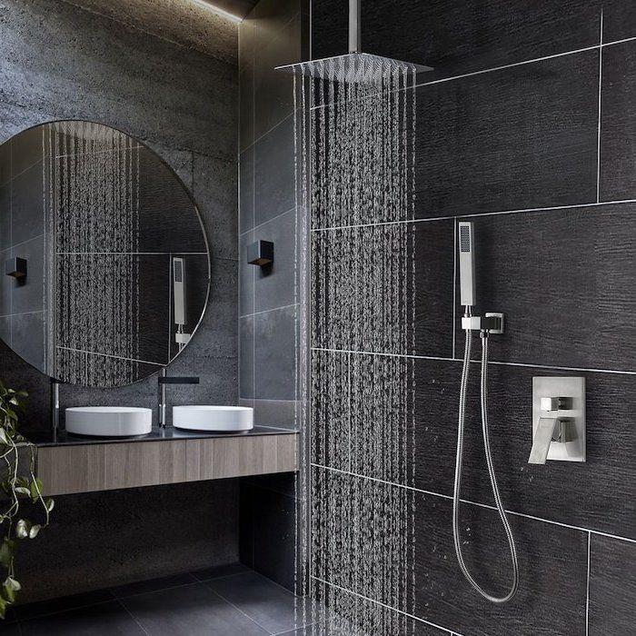 Rain Shower Head Black Grey Tiled Walls Floor Wooden Floating Sink Small Bathroom Layout In 2020 Modern Bathroom Design Modern Bathroom Bathroom Design