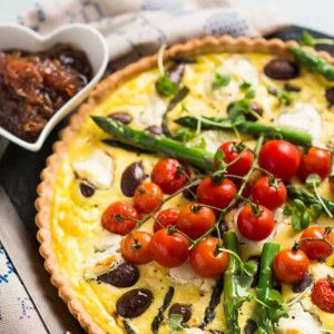 Tomato Olive and Asparagus Quiche #Dinner #Recipe #Quiche #SouthAfrica