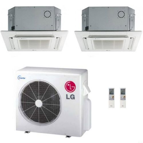LG 36K BTU Multi F Dual Zone Ceiling-Cassette Ductless Mini-Split Heat Pump System 12K+12K