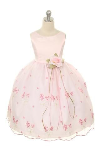 Fully lined dress with satin bodice and embroidered sheer organza skirt. Colors: Ivory Rose, Pink **New Colors: Lilac, Baby Blue** Sizes: 2-12 MADE IN USA