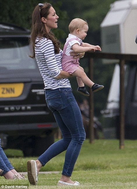 Crawling Prince George takes some cautious steps in his mother's arms during a Father's Day outing to the polo | Mail Online